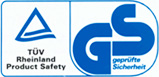 "TUV Rheinland ""GS"" verified safety certificate"